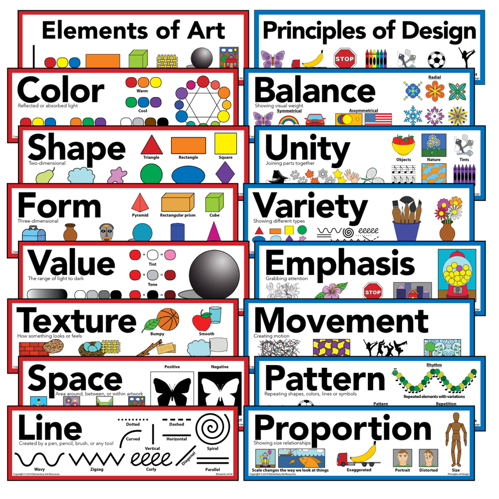 Principles Of Design Value : Elements of art principles design mini poster set