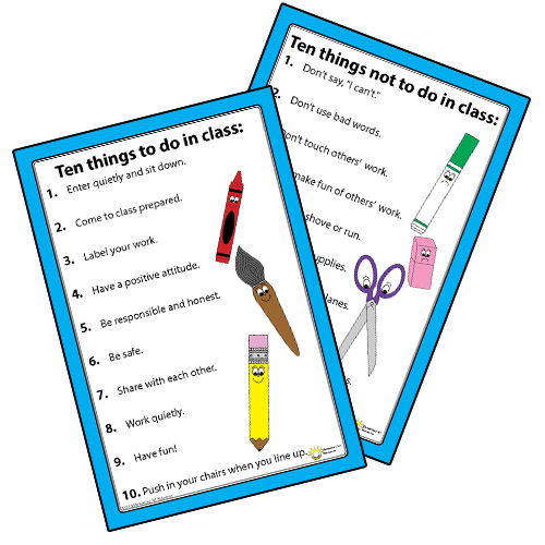 Classroom Rules Design ~ Do s and don t of art class elementary resources